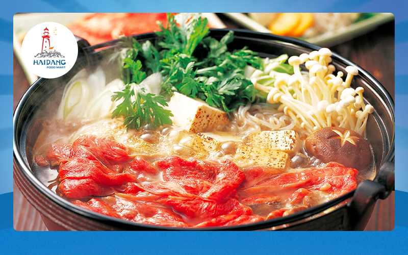 lẩu sukiyaki với bò wagyu